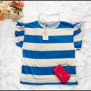 🌸 Zara Striped Flutter Sleeves Top L